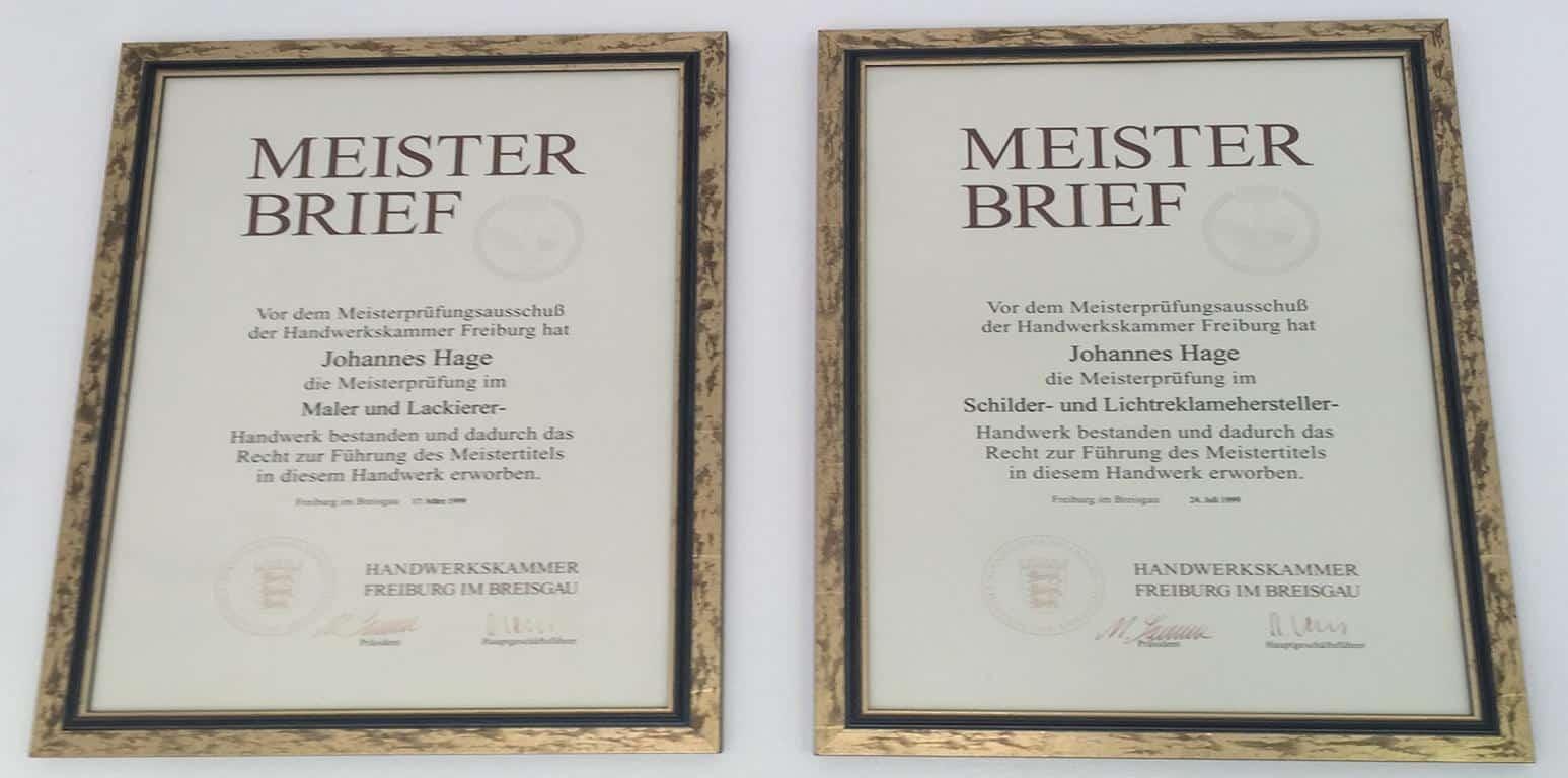 Johannes Hage Meisterbriefe